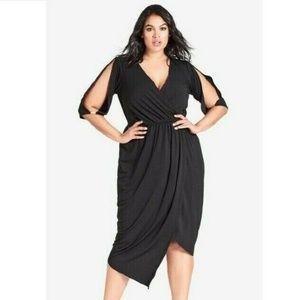 City Chic XXL/24 Black Soul Sister Wrap Dress BR77